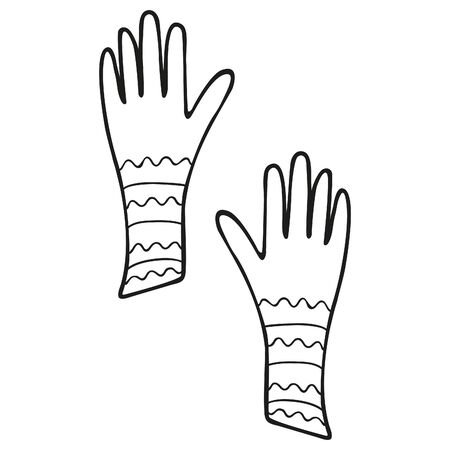 Black and white hand-drawn gloves isolated. Women's accessory, hand clothes decorated with stripes and waves. Trendy doodle and design element. Coloring book for girls. Vector. Vektorové ilustrace