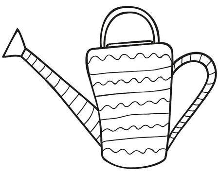Black and white hand-drawn patterned watering can for plants. Garden and summer cottage irrigation device for kailyard and flower beds in the Scandinavian style. Icon,  sticker. Vector.