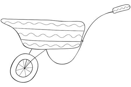 Hand-drawn black and white scandinavian-style garden unicycle cart. Insulated construction truck. Coloring book and page, horticultural design element,  emblem, icon. Vector. Illustration