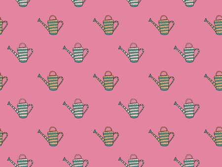 Seamless pattern of hand-drawn patterned watering can for plants on a pink background. Garden cottage irrigation devices for kailyard and flower beds in the Scandinavian style. Endless texture. Vector Ilustrace
