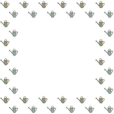 Square frame for text of isolated hand-drawn patterned watering can for plants on a white background. Garden cottage irrigation devices for kailyard and flower beds. Backdrop. Copy space. Vector.