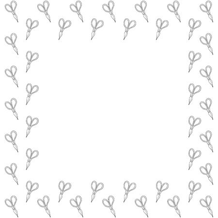 Square isolated frame from hand-drawn scissors black outline decorated with stripes on a white background for household, cutting, gardening, needlework, creativity. Vector template. Place for text. Illusztráció