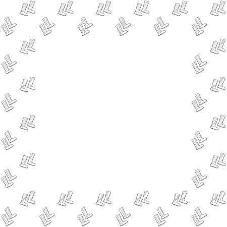 Square frame of black outline hand-drawn rubber boots with wavy and straight stripes on a white background. Isolated template. Place for text. Shoes for gardening, autumn, forest. Vector.