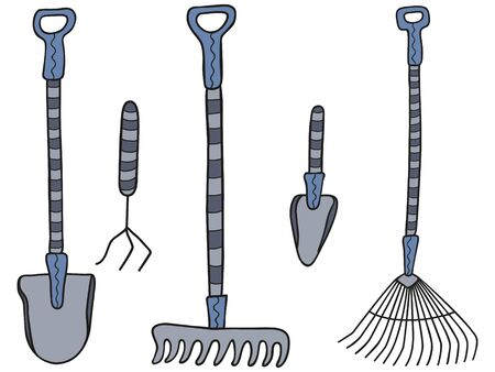 Hand-drawn set of garden tools. Collection of rakes, shovels, pitchforks and trowels on a white background. Isolated clipart. Vector.