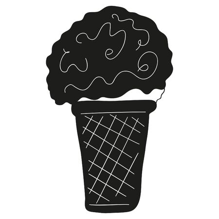 Black and white ball of ice cream with sweet syrup in a waffle cup. Refreshing dessert in a flat style.   icon, sticker, design element. Vector.