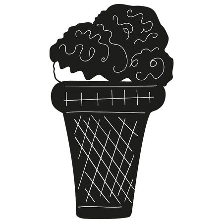 Black and white ice cream in a crispy waffle cup. Syrup poured cold sweets. Vector.