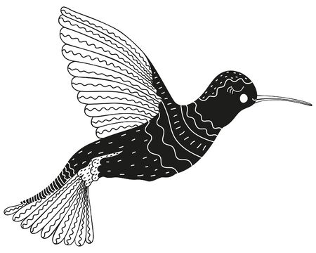 Black and white ornamental hummingbird in ethnic, Scandinavian and boho style.