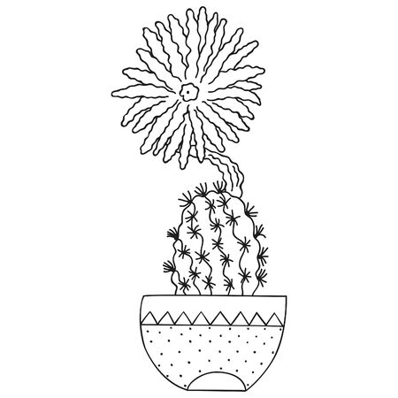 Black and white sediechinopsis mirabelis with a blossoming flower in a pot. Blooming cactus. Isolated botanical doodle for coloring page. Vector. 일러스트