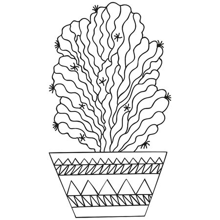 Black and white succulent Trichocereus in a pot. Cactus. Isolated botanical doodle for coloring book. Vector.