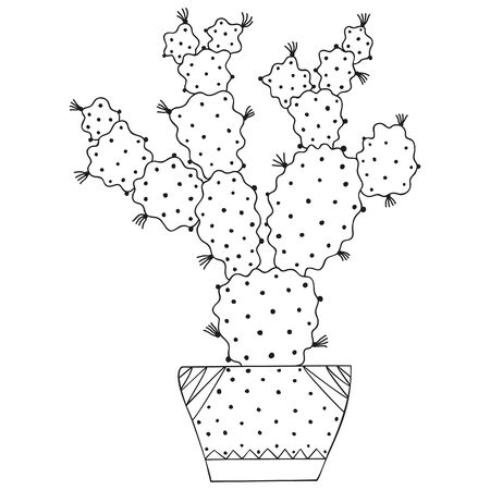 Black and white succulent Opuntia in a pot. Cactus with long spikes in the Scandinavian style. Tropical houseplant for coloring page. Vector.