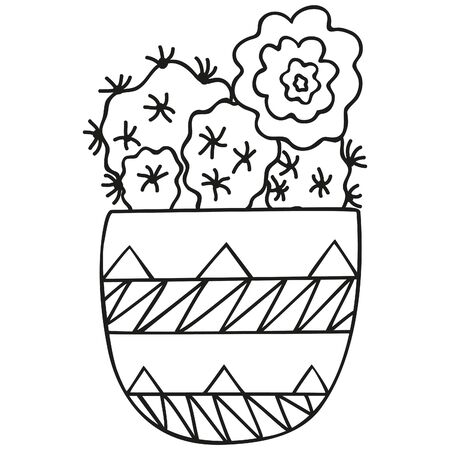 Black and white stylized Rebutia minuscula with a flower in a small pot. Cacti in the Scandinavian style. Isolated succulents for coloring page. Vector. 일러스트