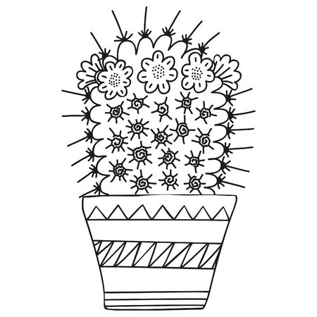 Black and white Mammillaria magnimamma with blossoming flowers growing in a pot in a Scandinavian style. Cactus for coloring book, graphic design . Simple single doodle. Vector.