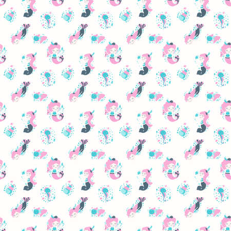 Cute seamless pattern of cartoon mermaids with pink hair, fish, seashells, seahorses and bubbles in the Scandinavian style on a white background. For little girls. Baby shower design.
