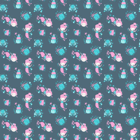 Seamless pattern of little cute smiling cartoon mermaid girls, octopuses, fish, seashells, starfishes and bubbles on a dark background in the Scandinavian style. For kids and toddler designs.