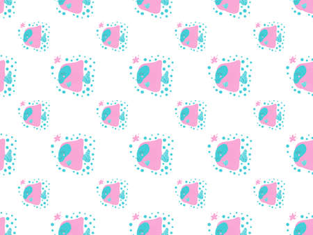 Seamless pattern of cartoon Zebrasoma fishes with ruddy cheeks and smiles and bubbles on a white background. For printing on baby clothes, textiles, nursary wallpaper, baby shower, stationery. Vector.