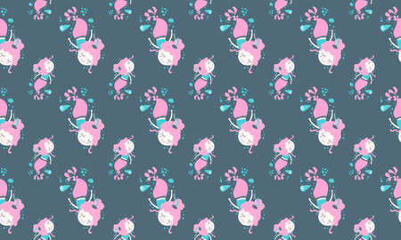 Seamless pattern of magical lovely little dreamy girls mermaids with pink hair floating peacefully in shells and bubbles on a dark background. Ideal for children's pajamas and bedroom decor. Vector.