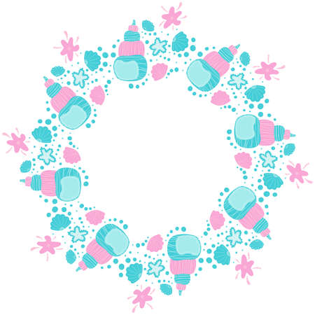 Cartoon round frame of seashells, bubbles and starfish on a white background in the Scandinavian style. Stylish childish nautical empty blank and template. Copy space. Vector.