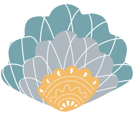 Abstract multicolored seashell in Scandinavian style with ornament on a white background. Isolated marine and oceanic decorative design element and logo. Vector. 일러스트