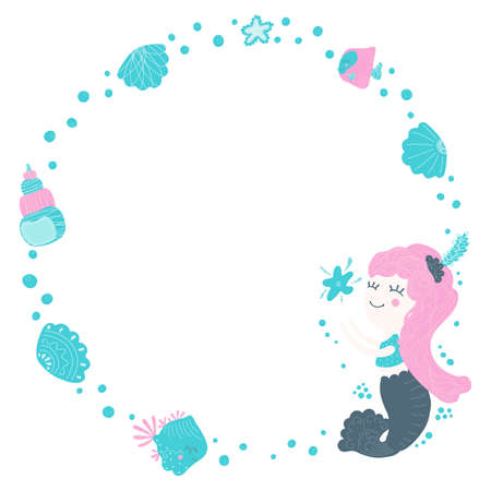 Cute round frame for text from a stylized cartoon cute little mermaid girl catching a starfish, fishes and bubbles in blue colors on a white background. Isolated blank template, design element. Vector