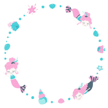 Cute round frame of amazing lovely girls mermaids with bubbles, seashells, fishes and starfish. Cartoon magical underwater world on a white background. Place for text. Copy space. Vector 일러스트