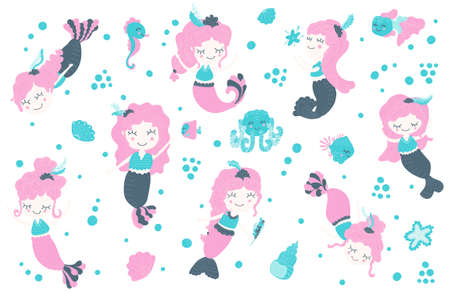 Set of cute little girls mermaids floating under water, fish, shells, bubbles, seahorse, octopus, starfish on a white background. Vector clipart for sticker, poster, postcard, print. Cartoon.
