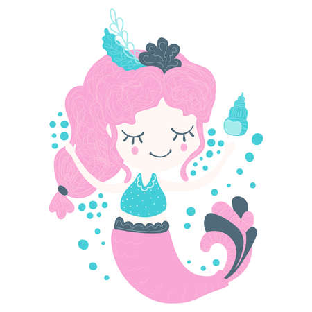 Magical lovely little mermaid girl with pink hair jumping merrily with seashells and bubble bursts on a white background. Childrens illustration in Scandinavian style. Sticker, print. Vector. 일러스트