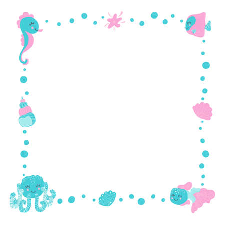 Cute childish square frame for text made of cartoon funny octopus, seahorse, fish, seashells, starfish and bubbles in a scandinavian style on a white background. Copy space.