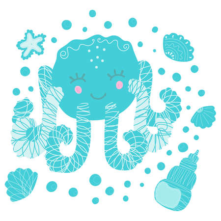Isolated illustration of cute cartoon smiling blushing octopus, seashells, starfish and bubbles on a white background. Design for baby products, nursery, clothing, fabric, sticker, poster. Vector.