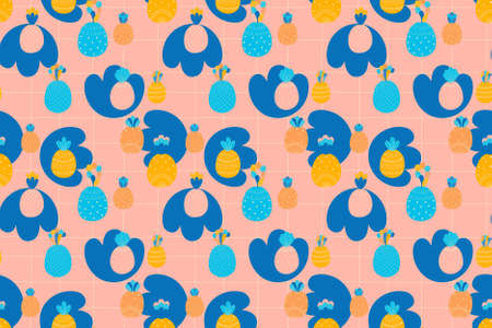 Childish seamless pattern of cartoon multicolored pineapples, abstract blue spots and square grid on a pink background. Vector.