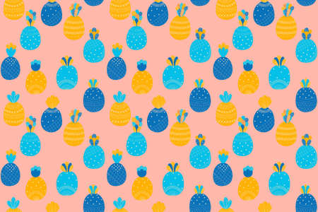 Cheerful abstract childish seamless pattern of cartoon multi colored pineapples on a pink background in Scandinavian style. Ilustracja