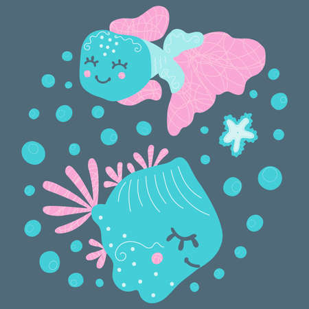 Cute baby illustration of two cheerful smiling floating fish, bubbles and starfish. Cartoon magical underwater world on a square dark background in the Scandinavian style. Children's design. Vector.