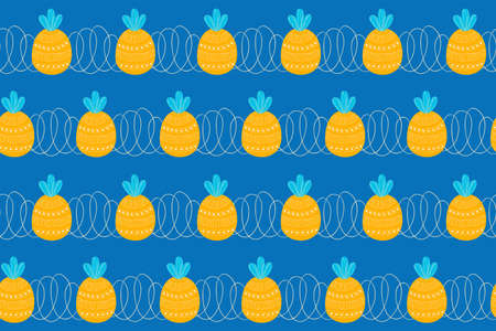 Seamless pattern of stripes of abstract stylized repeating yellow pineapples and spirals on a blue background. For fabric, clothing, wallpaper, textile.