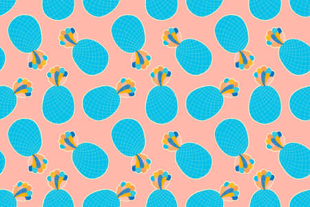 Festive bright seamless pattern of stylized abstract pineapples on a pink background. Zdjęcie Seryjne