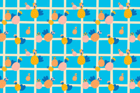 Bright seamless pattern of abstract multicolored pineapples in doodle style, blue spots and thick beige cell on a light blue background.