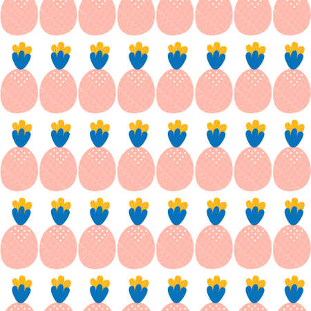 Delicate childish pattern of pink repeating pineapples in the Scandinavian style on a white background. Zdjęcie Seryjne