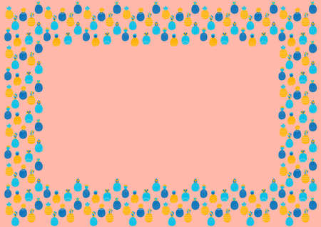 Cheerful abstract childish rectangular frame with place for text of cartoon multi colored pineapples on a pink background in Scandinavian style.