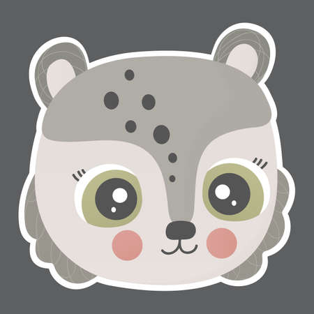Cartoon cute teddy bear face with ruddy cheeks and white outline on a square dark background. Kawaii character. Vector.