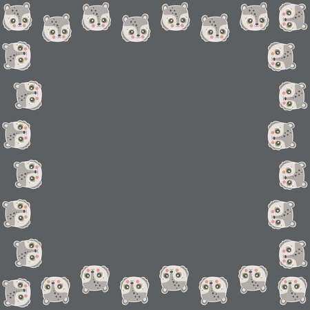 Square frame of cartoon cute teddy bear faces with ruddy cheeks and white outline like stickers on a dark brown background. For greeting card, invitation, print, banner. Kawaii characters. Vector.