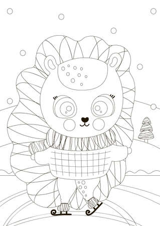 A cute little black and white hedgehog is skating on ice in the forest. Rectangular coloring page. Happy New Year, Merry Christmas card. Outline illustration for kids, toddlers. Winter design. Vector. Ilustração