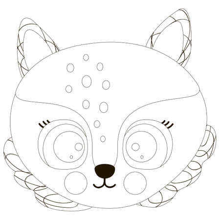 Cartoon black and white cute outline face of smiling little fox with big eyes and round cheeks. For coloring page, sticker, children's design, fashionable baby clothes. Vector.
