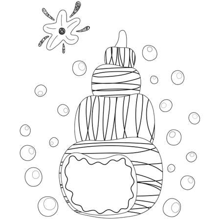Black and white cartoon stylized shell of mollusk, starfish, bubbles. Isolated outline children's cute illustration. For coloring page and book, babies' product design, sticker, t-shirt print. Vector. Illusztráció