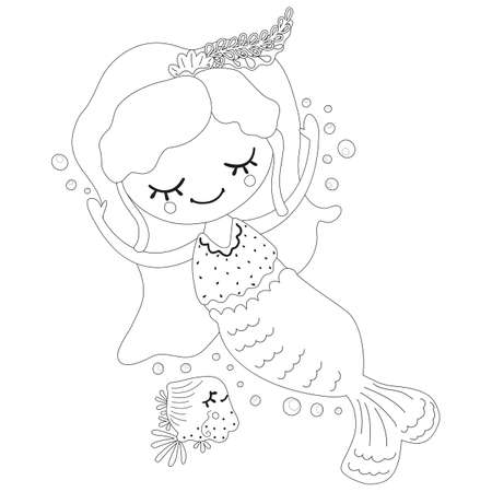 Black and white dreamy little mermaid floating with arms raised up, fish and bubbles in Scandinavian style. Monochrome baby illustration for coloring book and page, nursery design, print, DIY. Vector. Illusztráció