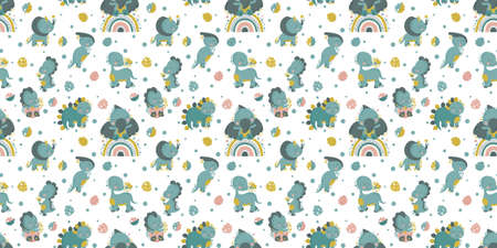 Seamless pattern with cute cartoon joyful kawaii dinosaurs and monstera leaves on a white background. For nursery decor, textile, printing on fabrics, packaging, wallpaper, digital paper. Vector.