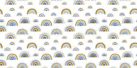 Seamless pattern of elegant abstract rainbows in blue, golden yellow and gray colors on a white background. Trendy endless texture for printing on fabric, clothing, wallpaper, textile. Vector.