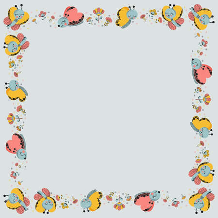 Square frame made of cute cartoon funny characters of butterflies, abstract flowers and doodles of hearts on a gray background. Summer stylish isolated template with place for text. Copy space. Vector