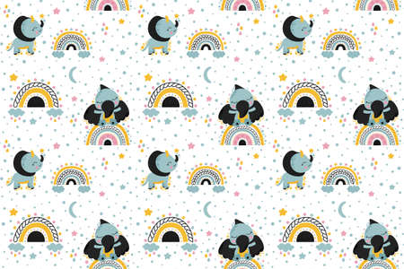 Cute childish seamless pattern cute cartoon toddlers dinosaurs pterosaur and triceratops, abstract stylized rainbows, clouds, raindrops, stars, crescents. Print on pajamas, baby accessories. Vector.