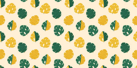 Seamless pattern of stylized cartoon monstera leaves in green and yellow colors on a light cream background. Endless tropical palm texture. Vector.