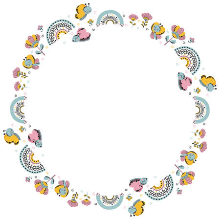 Cute round isolated frame of cartoon stylized funny butterflies, rainbows, flowers and hearts with empty space for text in girly naive scandinavian style on white background. Vector.