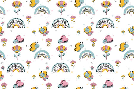 Cute seamless pattern of cartoon stylized funny butterflies, abstract rainbows, flowers and hearts of blue-gray, yellow and pink colors in a girly naive Scandinavian style. White background. Vector. 向量圖像