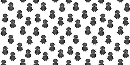 Seamless pattern of flat cute smiling cartoon western gorillas with ruddy cheeks repeating on a white background. Backdrop of cute african primates. Vector.